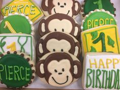 Adorable Monkey 1st Birthday Decorated Cookies