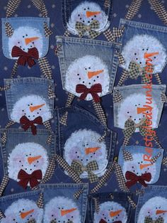 Snowman Jean Pockets I seem to be seeing snowmen everywhere. Since I'm nearing the end of my craft show crafting for this year I've been digging through boxes and drawers for quick insp… Would be great potholders Snowman Crafts, Snowman Ornaments, Christmas Snowman, Winter Christmas, Handmade Christmas, Christmas Stockings, Christmas Ornaments, Jean Crafts, Denim Crafts
