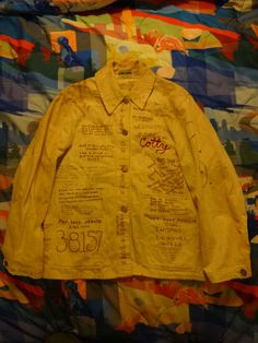 Early 50's DUBBLE WARE Off-White Coverall Jacket Handwritten Illustration