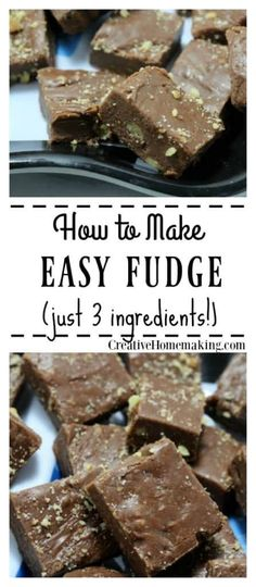 Three Ingredient Fudge Easy three ingredient fudge recipe made with sweetened condensed milk, chocolate chips, and nuts. One of my favorite quick easy holiday desserts. Easy Holiday Desserts, Quick Easy Desserts, Easy Baking Recipes, Holiday Baking, Easy Chocolate Fudge, Chocolate Chip Recipes, Fudge Recipes, Chocolate Chips, Candy Recipes