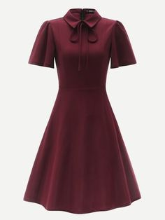 61fa6b4a61 Zip Back Tie Neck Puff Sleeve Fit & Flare Dress [swdress07181204543] -  $36.00