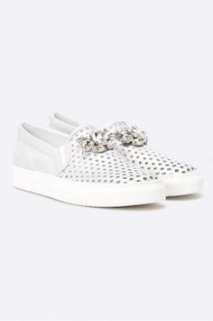 Espadrile argintii din piele cu perforatii Slip On, Sneakers, Shoes, Fashion, Tennis, Moda, Slippers, Zapatos, Shoes Outlet
