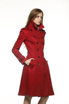 Wine Red Big Lapel Cotton fitted dress coat Double Breasted Military Trench Coat for Spring or Autumn - Custom Made - NC478