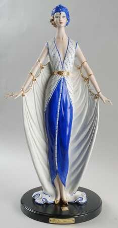 Art Deco Woman In Blue Hat, Capodimonte Figurines by Vittorio Sabadin