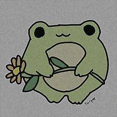 Indie Drawings, Art Drawings Sketches Simple, Easy Drawings, Cute Little Drawings, Cute Animal Drawings, Frog Pictures, Frog Art, Indie Art, Cute Frogs
