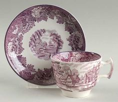 Purple Transferware Demi Demitasse Cup and Saucer English Scenery Wood & Sons Tea Cup Saucer, Tea Cups, Blue Willow China, Tea Art, Vintage Dishes, Chocolate Pots, China Patterns, Wedgwood, China Porcelain