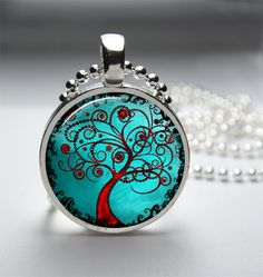 1in Circle Glass Bezel Pendant - Bright Red Orange Artistic Tree Of Life On Blue - Free Ball Chain Necklace