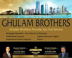 Thinking of Buying, Selling Or Both....? Ghulam Shahid* & Ghulam Dastgir *Sales Representatives Mobile: 416-629-4829 OR 416 880 1884 gshahid@trebnet.com, dastgir@gmail.com Sales Representative, Real Estate, Real Estates