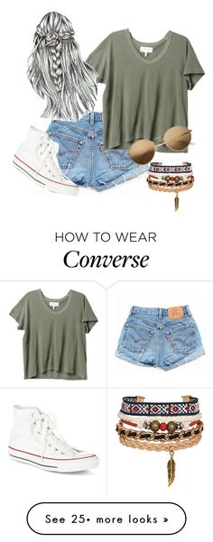 """messy messy"" by natashayoung on Polyvore featuring Levi's, The Great, Converse and H&M"