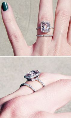 Morganite engagement ring... Not a fan of the simple wedding band, but love the other ring