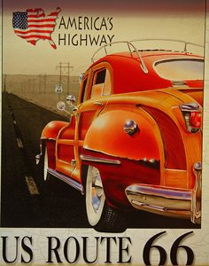 America's Highway - US Route 66 - Vintage Travel Poster Old Poster, Poster Ads, Poster Prints, Vintage Advertisements, Vintage Ads, Retro Advertising, Historic Route 66, Art Deco Posters, Retro Posters