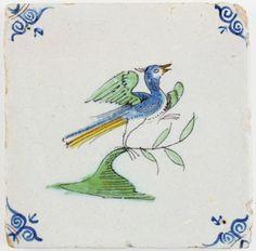 Antique Dutch Delft tile with a polychrome bird, 17th century