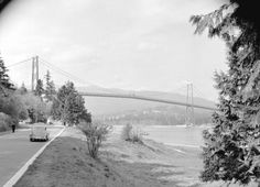 A view of the Lions Gate Bridge from Stanley Park, 1940 City of Vancouver Archives Stanley Park Vancouver, Vancouver Bc Canada, Vancouver Island, Lions Gate, Canada Eh, Old City, Park City, Back In The Day, Historical Photos