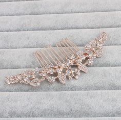 KARIS-ROSE-GOLD-HAIR-COMB-BRIDAL-SLIDE-RHINESTONE-VINTAGE-ART-DECO-CRYSTAL