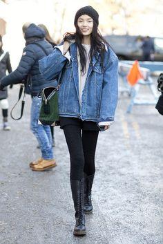 New York Fashion Week Street Style Fall 2013 #denim #Xiao Wen Ju
