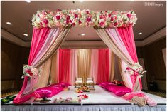 Stunning Mandap Decor Ideas for the Indoor Wedding! Desi Wedding Decor, Wedding Hall Decorations, Marriage Decoration, Beach Decorations, Wedding Ideas, Wedding Planning, Backdrop Decorations, Diwali Decorations, Wedding Images