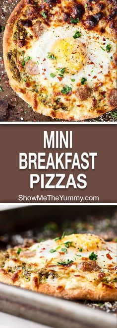 These Mini Breakfast Pizzas are my latest breakfast obsession. Pita topped with fresh pesto, savory sausage, melty mozzarella, and a gooey egg! showmetheyummy.com #breakfast #pizza