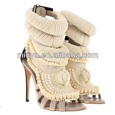 Hot branded beaded pearl ankle sandals / ladies white handmade shoes