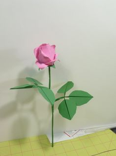 Origami Rose Leaves, Calyx, and Stem