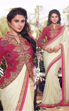 Cream & Pink Satin Chiffon Jennifer Winget Designer Saree