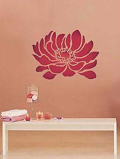 Flower stencil, trendy stencils for walls. Easy DIY wall decor with stencils.
