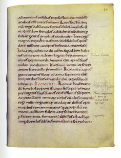 Vienne, Österreichische  Nationalbibliothek, lat. 510 f. 84r. L'envoi d'une ambassade romaine auprès de Charlemagne à l'occasion de l'avènement du pape Léon III (795-816).