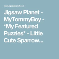 Jigsaw Planet - MyTommyBoy - *My Featured Puzzles* - Little Cute Sparrow...