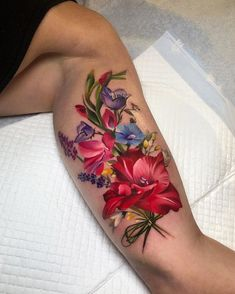 Bouquet of Wild Flowers Arm Tattoo Custom Design Tattoo Ideas Flower Bouquet Tattoo, Flower Tattoo Back, Flower Tattoo Shoulder, Bouquet Flowers, Flower Sleeve, Tattoo Henna, Arm Tattoo, Sleeve Tattoos, Realistic Flower Tattoo