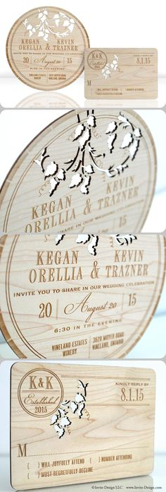 "Wine barrel wood wedding invitations look like the top of a wine barrel. Laser cutting into 1/16"" reclaimed wood makes them environmentally friendly! http://www.invite-design.com/#!product/prd12/2202420305/wine-barrel-invitation"