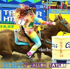 the jeans Round 1 Barrel Racing Winner Babyflo and Fallon Taylor Time: 14.09