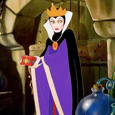 The Queen devising a plan to get rid of Snow White. The Queen starts to come up with an idea of how creating a poisonous apple. She uses the chemicals inside the lab to make a deadly concoction to poison Snow White. To become unrecognizable, she poses as an evil witch to throw off the fair maiden.