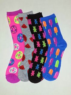 Doughnut, Watermelon, Gummy Bear and Popsicle Themed Crew Socks! Sold by Socks & Souls where we are warming souls through soles by giving a pair of socks to someone in need with every sock purchase!