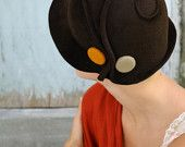 brown cloche with vintage gold button-made to order