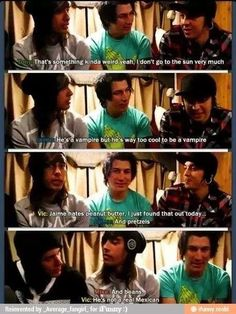 Jaime is not a real Mexican! Haha  lol>> but he's the only one in the band who can actually speak Spanish. Oh no.