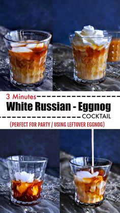 3 Minutes White Russian Eggnog Cocktail: celebrate the holidays with this 5 ingredients, creamy, delicious and boozy cocktail. Christmas Cocktails, Holiday Drinks, Fun Cocktails, Party Drinks, Fun Drinks, Yummy Drinks, Cocktail Drinks, Holiday Recipes, Cocktail Recipes