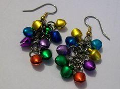 Christmas Dangling Earrings Colorful Earrings by VintagePlusCrafts, $10.00