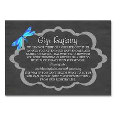 Chalkboard & Blue Dragonfly Baby Gift Registry Cards