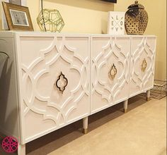Wouldn't you just love this  spectacular console?  It was easy and affordable.  All you need is an Ikea Besta console, Khloe O'verlays Kit furniture panels and door pulls. An easy recipe for a diy home decor furniture project.