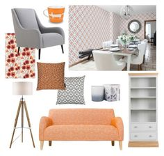 """""""It's a yay for orange and grey!"""" by brewershome ❤ liked on Polyvore featuring interior, interiors, interior design, home, home decor, interior decorating, EASEL and colour"""