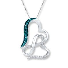 Infinity Heart Necklace 1/15 cttw Blue Diamonds Sterling Silver