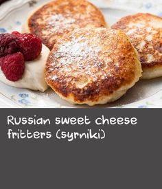 Russian sweet cheese fritters (syrniki) | I grew up with a mum who worked full-time, so my brother and I had pretty simple breakfasts before heading to school. But she loved to spoil us on the weekends by making something special for breakfast. Syrniki (seer-nee-kee)were one of these treats and I missed them terribly when I moved away from Russia. Syrniki are fritters made from a farmer's cheese called tvorog and I couldn't find a good substitute in the US or Canada for the longest time…