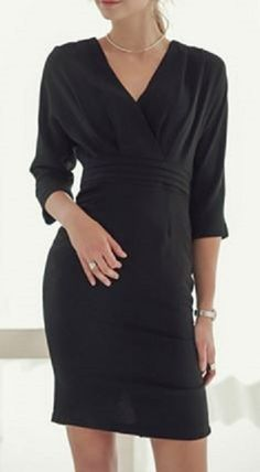 Love this Dress! OL Style 3/4 Sleeve V-Neck High Waist Black Pencil Work Dress For Women #Working_Woman #LBD #Fashion