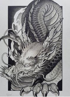 Top 30 Stunning And Realistic Dragon Drawings - Mashtrelo drawings art Dragon Tattoo Art, Dragon Sleeve Tattoos, Japanese Dragon Tattoos, Japanese Tattoo Art, Japanese Tattoo Designs, Dragon Tattoo Designs, Dragon Art, Japanese Pheonix Tattoo, Realistic Dragon Drawing