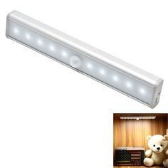 TFBOYS Night Light, Built-in Battery USB Rechargeable Wireless Motion Sensor Light with 10 LED Lights, Stick-on Magnetic Strip (1 Pack)