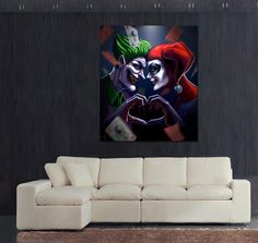 JOKER & HARLEY QUINN CANVAS PRINTED WALL (Select Size)  --Be your own Whyld Girl with a wicked tee today! http://whyldgirl.com/tshirts