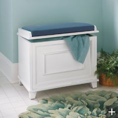 Springfield Storage Bench - Grandin Road. Never thought of using one of these in a bathroom, but they would make great hampers or a place to sit if you have kids to bathe.