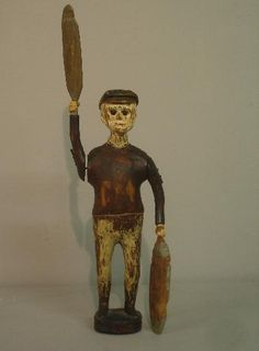 758: FOLK ART WHIRLIGIG. Carved wooden figure of a man : Lot 758