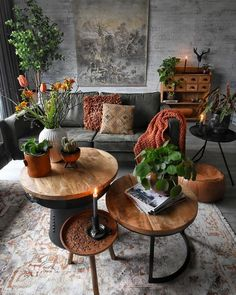 Room redo Green nature inspired dark Bohemian living room is part of Bohemian Living Room Green - I love the vintage pieces used in this interior look with the different rustic coffee tables and vintage rug Bohemian Living Rooms, Living Room Green, Living Room Interior, Brown Living Rooms, Burnt Orange Living Room, Living Room Decor Eclectic, Natural Living Rooms, Living Room Decor Dark Furniture, Living Room With Color
