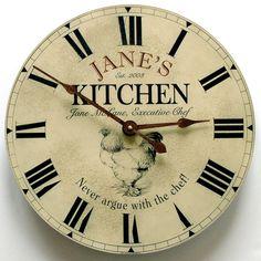 Custom kitchen clocks by John Borin make the perfect Mothers Day gift. www.kitchenclocksbyjohnborin.com