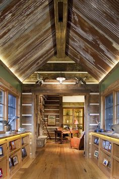 corrugated tin on the ceiling inside - love it!: sun room style! Tin, green, rough rich wood.